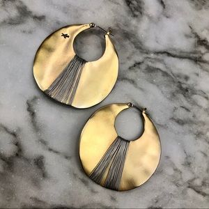 Kenneth Cole Gold Silver Tone Flat Disc Earrings